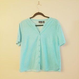 Gloria Vanderbilt Blue & White polka Dot Shirt
